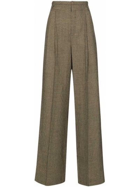 Шерстяные укороченные брюки свободного кроя с высокой посадкой с потайной застежкой Chloé