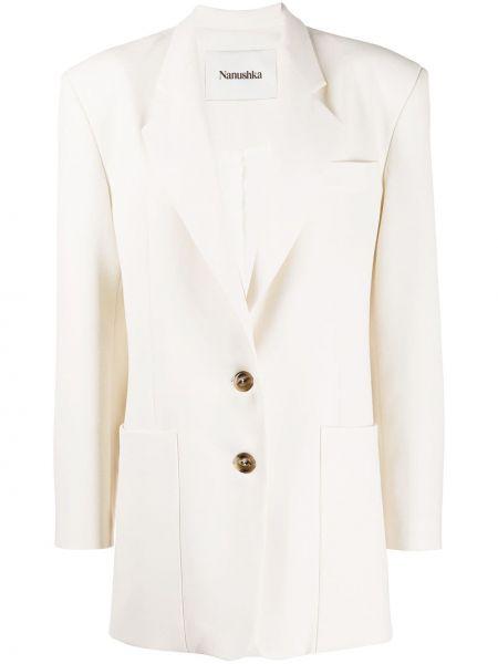 Однобортный белый классический пиджак с карманами Nanushka