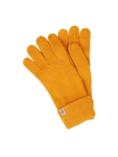 Prążkowane żółte rękawiczki wełniane Roeckl