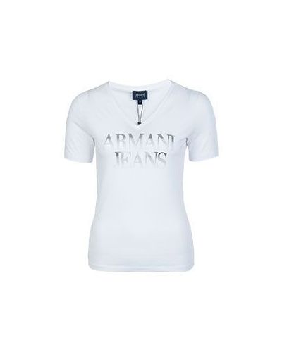Футболка с надписями с декольте Armani Jeans