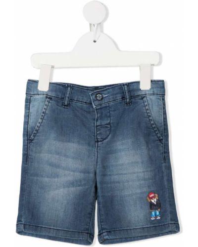 Хлопковые синие шорты с поясом до середины колена Harmont & Blaine Junior