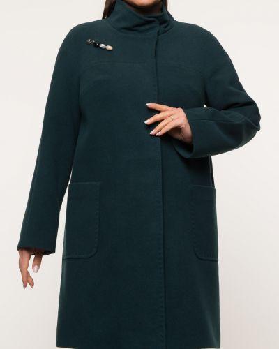 Зеленое драповое пальто с воротником каляев