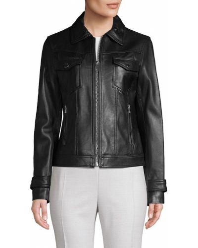 Черная кожаная куртка с воротником с длинными рукавами T-tahari