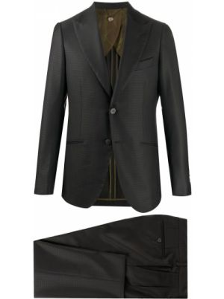 Прямой серый костюмный костюм на пуговицах Maurizio Miri
