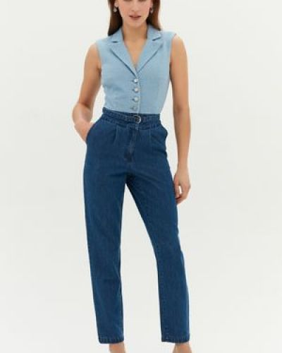 Облегающий синий джинсовый комбинезон с карманами Love Republic