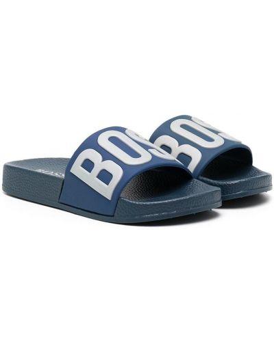 Синие открытые шлепанцы с открытым носком Boss Kids