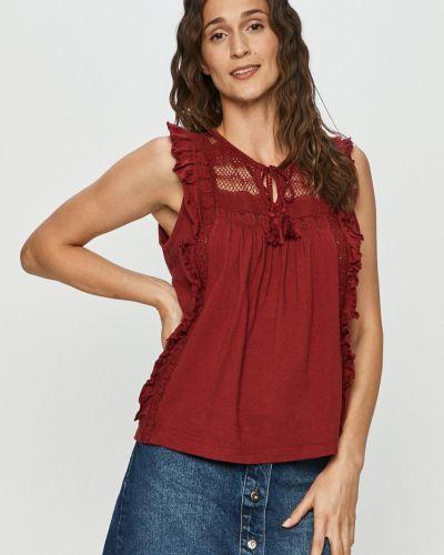 Czerwona bluzka z falbanami bez rękawów Vero Moda