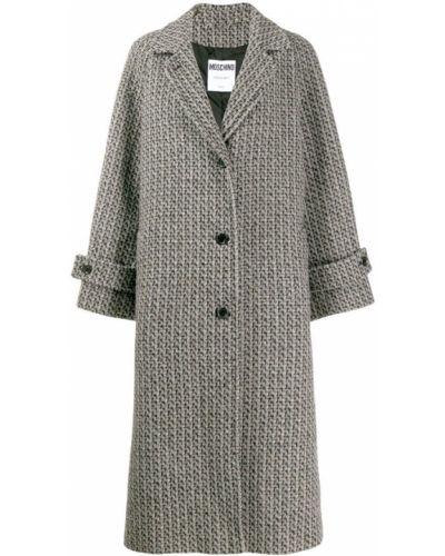 Однобортное длинное пальто с капюшоном на пуговицах Moschino