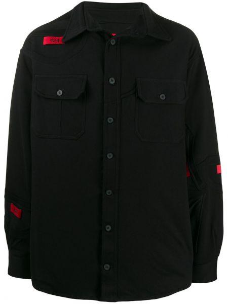 Koszula z długim rękawem klasyczna czarna 424
