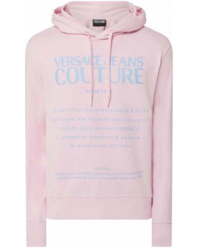 Różowa bluza z kapturem bawełniana Versace Jeans Couture