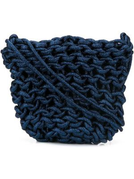 Niebieska torba na ramię bawełniana peep toe Alienina