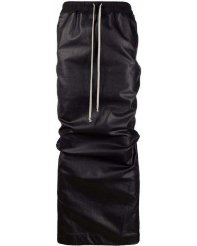 Хлопковая черная юбка карандаш с разрезом Rick Owens