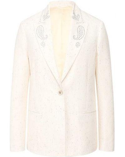 Хлопковый белый пиджак с подкладкой Golden Goose Deluxe Brand