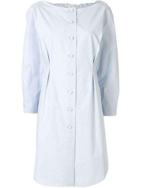 Синее платье на пуговицах с манжетами с круглым вырезом Delpozo