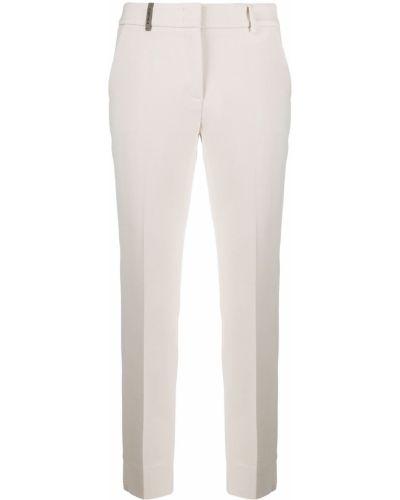 Кожаные укороченные брюки узкого кроя с потайной застежкой Peserico