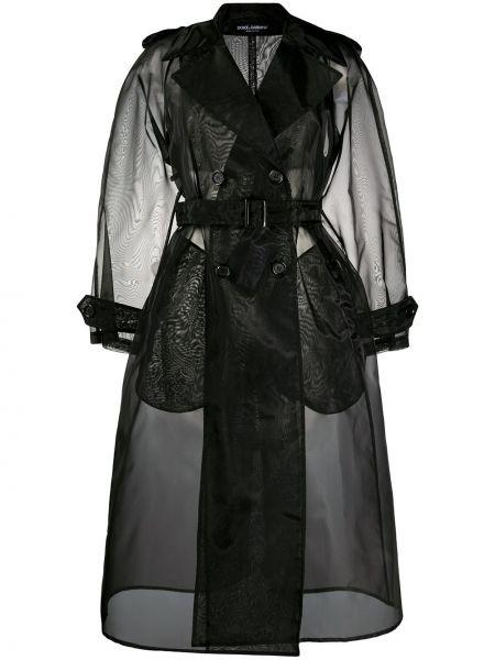 Черное нейлоновое пальто с поясом на пуговицах Dolce & Gabbana