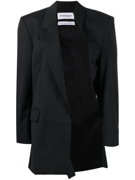Шерстяная черная куртка на пуговицах с карманами Situationist