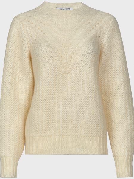 Белый шерстяной свитер Alberta Ferretti
