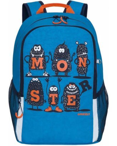 Школьный текстильный синий ранец на бретелях Grizzly