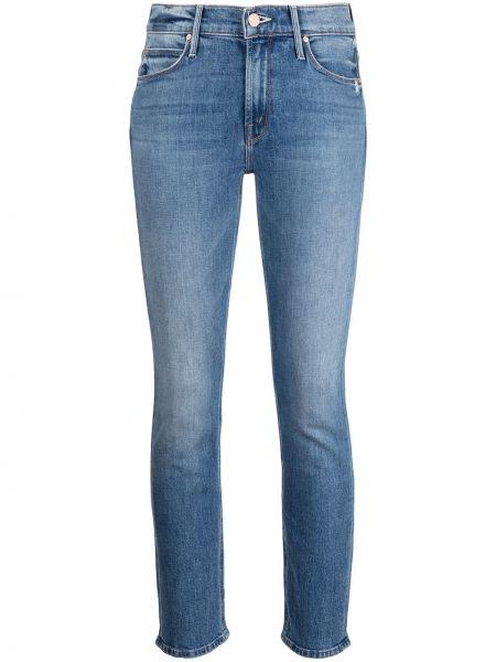Синие хлопковые прямые джинсы с потайной застежкой Mother