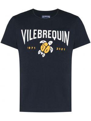 Niebieska T-shirt z nadrukiem bawełniana Vilebrequin