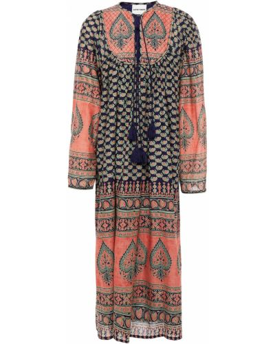 Fioletowa sukienka midi bawełniana Antik Batik