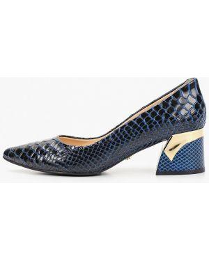 Туфли на каблуке кожаные синий Hestrend