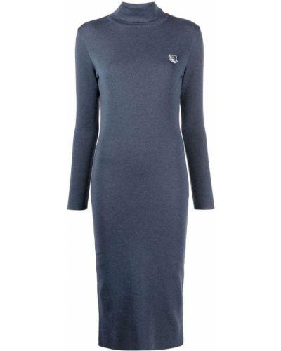 Платье миди с длинными рукавами - синее Maison Kitsuné