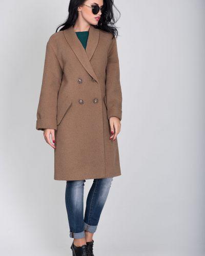 Коричневое пальто двубортное из верблюжьей шерсти Sergio Cotti