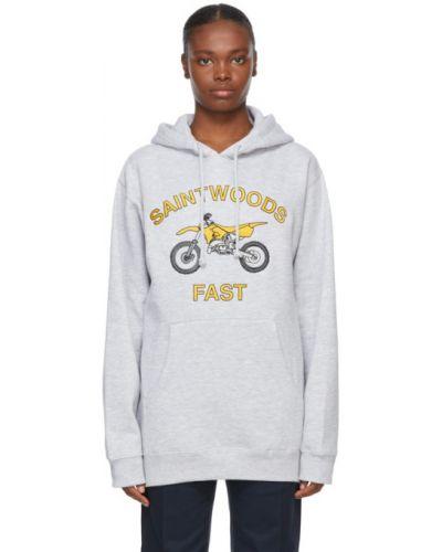Bluza długa z kapturem z haftem z długimi rękawami Saintwoods