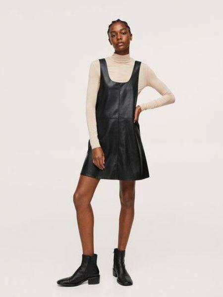 Черное платье с подкладкой Mango