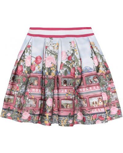 Плиссированная юбка с цветочным принтом пачка Monnalisa