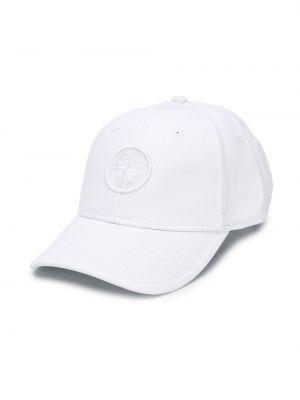 Czapka z logo biały Stone Island Junior