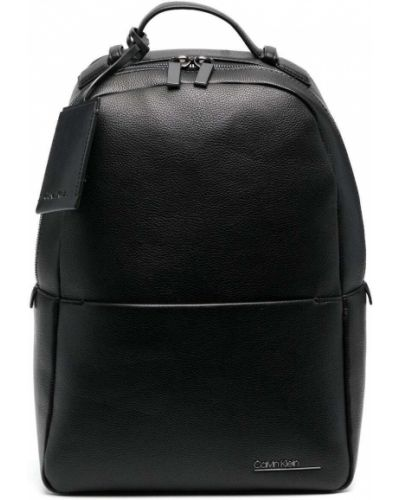 Черный кожаный сумка на плечо с карманами Calvin Klein