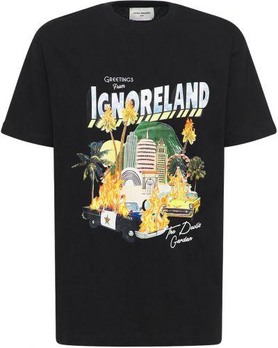 Czarna T-shirt z nadrukiem z printem Lifted Anchors