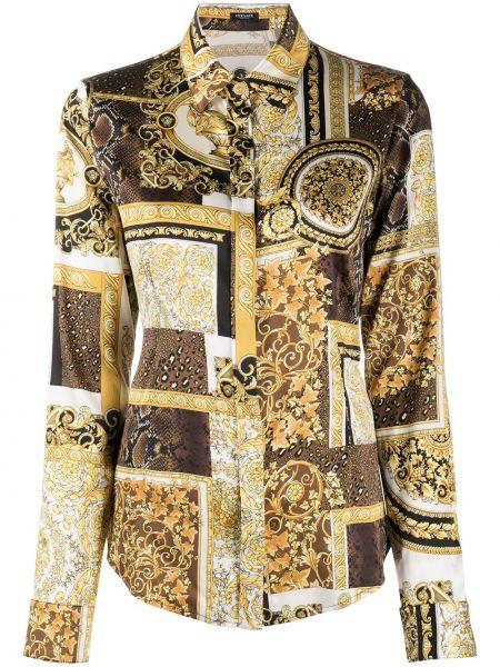 Желтая шелковая классическая рубашка с воротником Versace