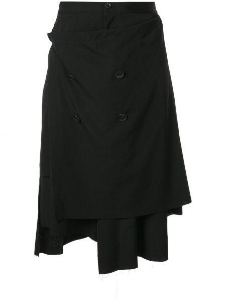 Деловые черные шорты на пуговицах с высокой посадкой Yohji Yamamoto