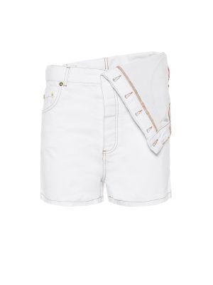 Однобортные белые джинсовые шорты со стразами Y/project