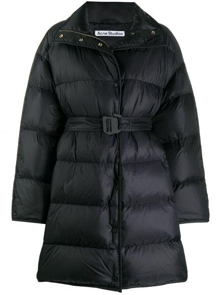 Puchaty czarny długi płaszcz z kieszeniami z długimi rękawami Acne Studios