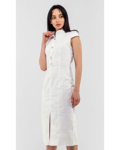 Белое платье с воротником со шлицей Modniy Oazis