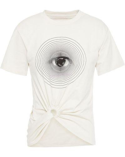 Белая футболка с вырезом Paco Rabanne