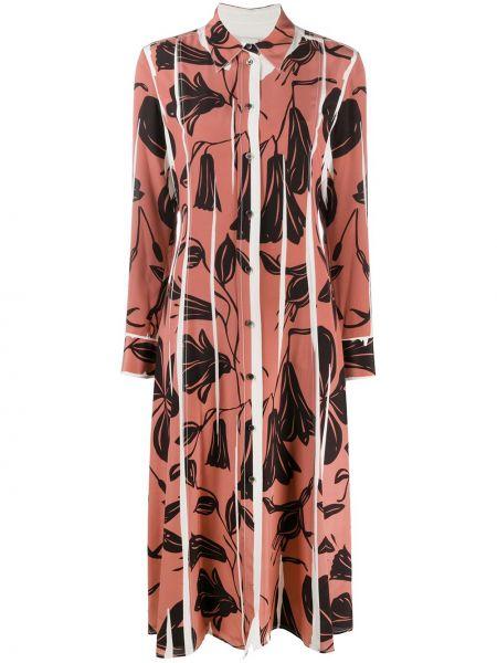 Розовое шелковое платье макси в цветочный принт Paul Smith