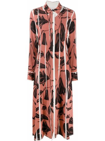 Шелковое платье макси - розовое Paul Smith