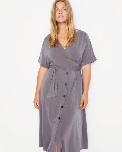 Повседневное серое повседневное платье Violeta By Mango