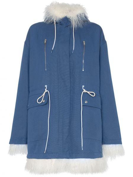 Синее длинное пальто из овчины с воротником Calvin Klein 205w39nyc