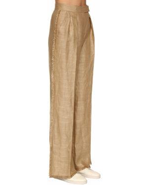 Свободные брюки плиссированные льняные Max Mara