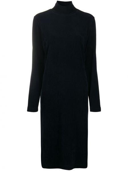 Темно-синее прямое платье макси вельветовое с длинными рукавами Tibi