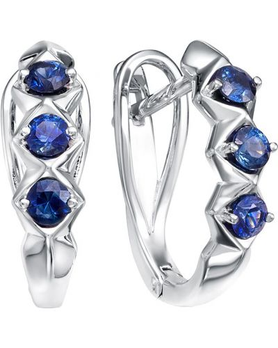 Золотые серьги c сапфиром английский Vesna Jewelry