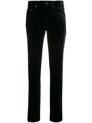 С завышенной талией черные джинсы с карманами из вискозы Saint Laurent
