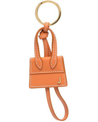 Золотистый оранжевый кожаный брелок Jacquemus